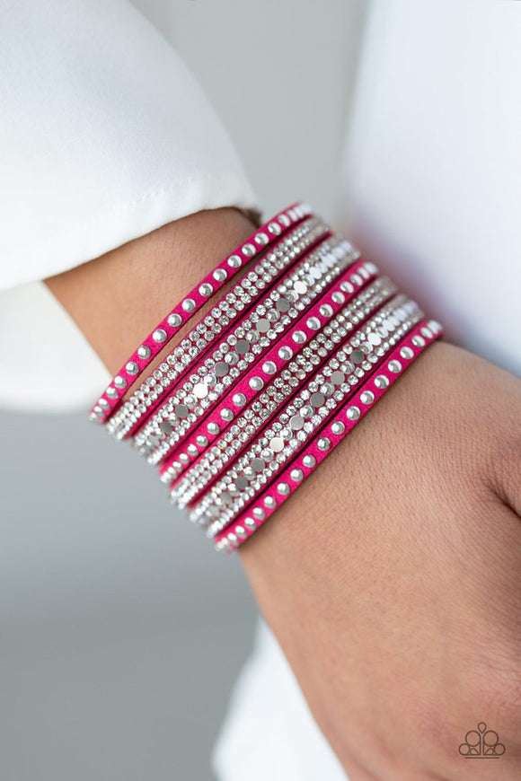all-hustle-and-hairspray-pink-bracelet-paparazzi-accessories