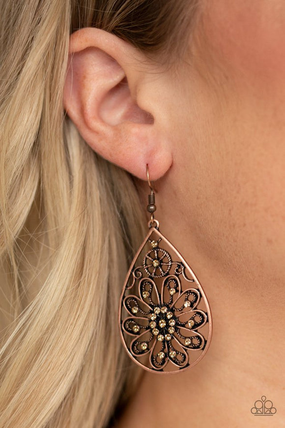 flowering-finery-copper-earrings-paparazzi-accessories