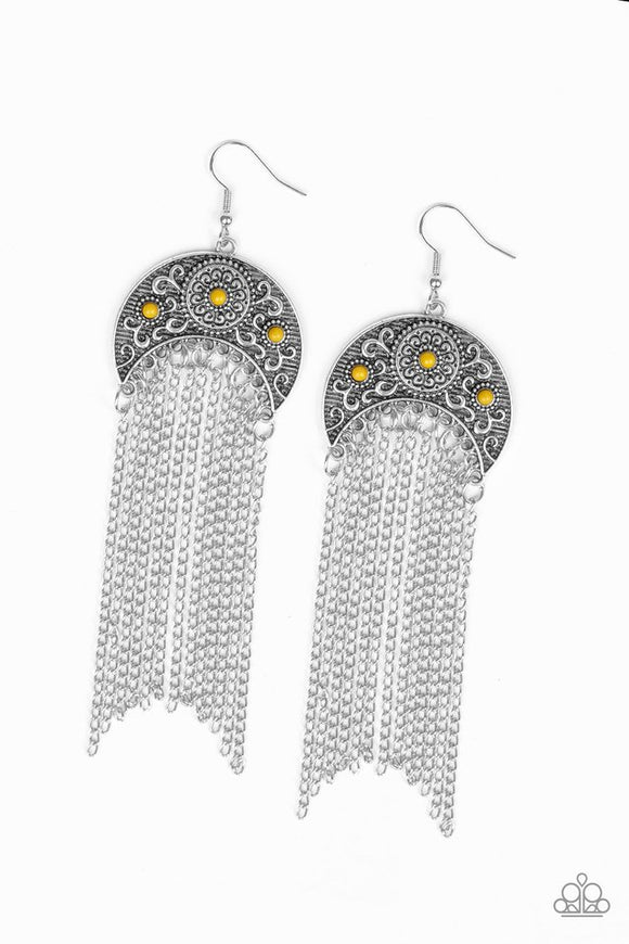 lunar-melody-yellow-earrings-paparazzi-accessories