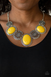 the-medallion-aire-yellow-necklace-paparazzi-accessories