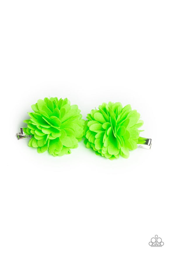 neatly-neon-green-hair-clip-paparazzi-accessories