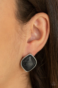 Marble Marvel - Black Post Earrings - Paparazzi Accessories