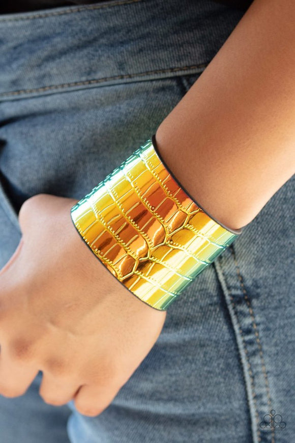 Chroma Croc - Multi Bracelet - Paparazzi Accessories