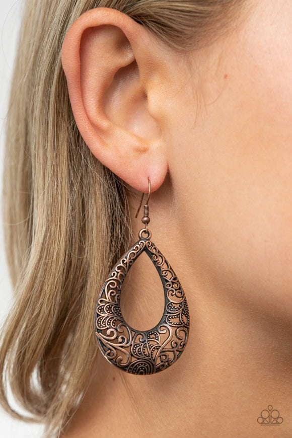 Get Into The GROVE - Copper Earrings - Paparazzi Accessories
