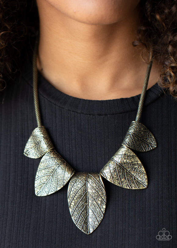 Garden Gatherer - Brass Necklace - Paparazzi Accessories