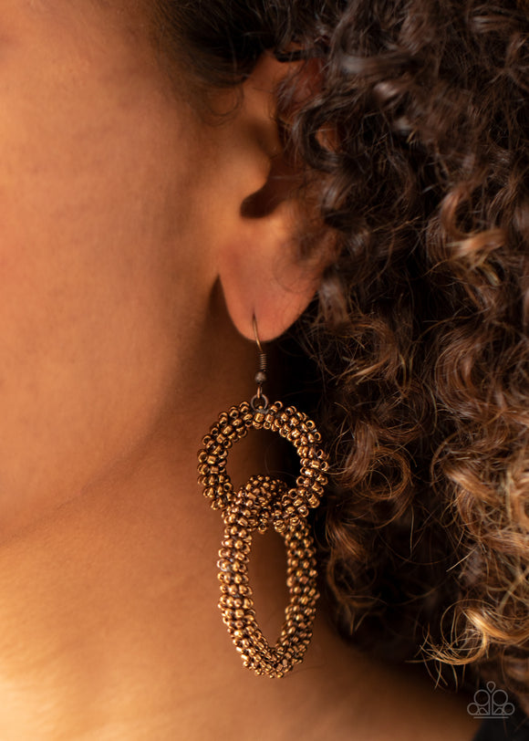 Luck BEAD a Lady - Copper Earrings - Paparazzi Accessories