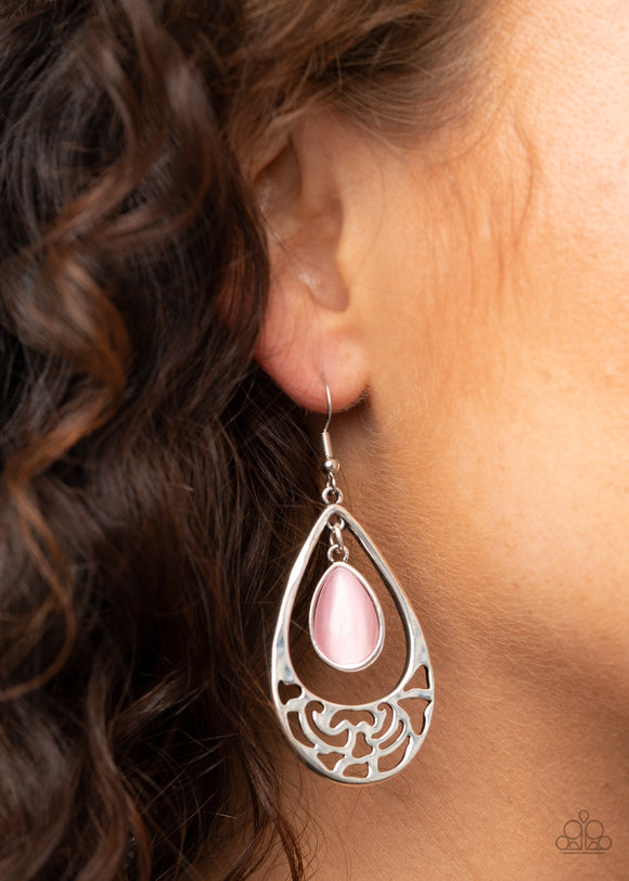 DEW You Feel Me? - Pink Earrings - Paparazzi Accessories
