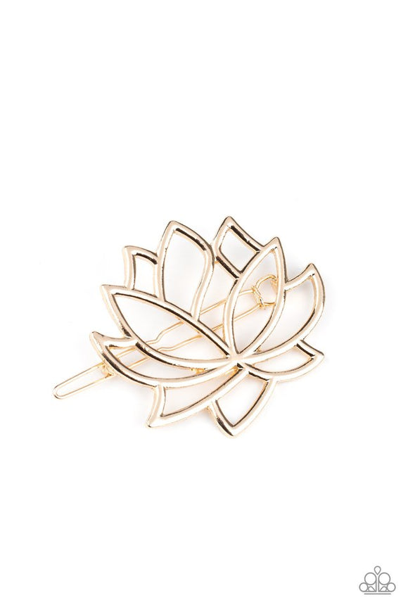 lotus-pools-gold-hair-clip-paparazzi-accessories