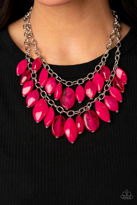 Palm Beach Beauty - Pink Necklace - Paparazzi Accessories