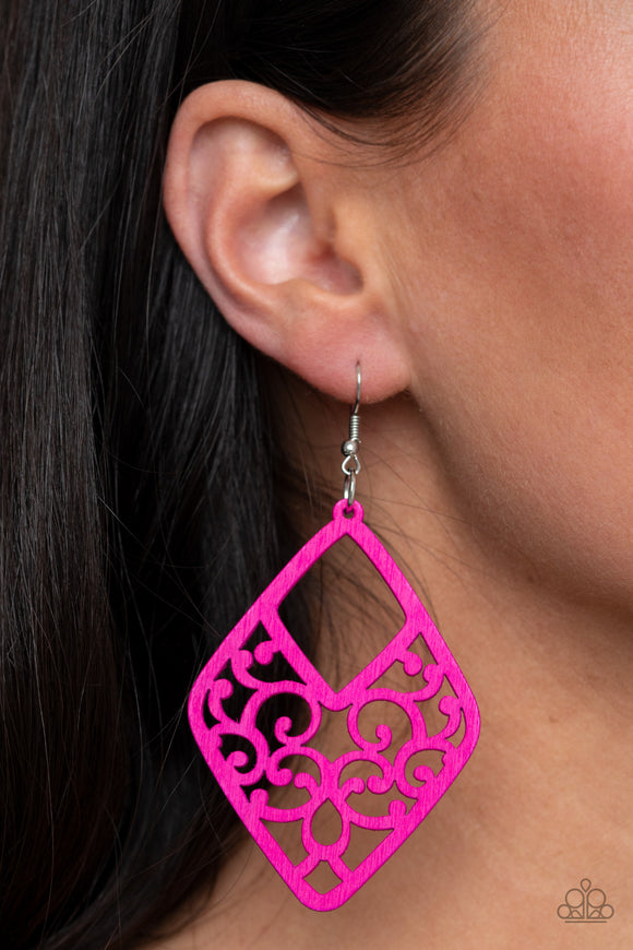 VINE For The Taking - Pink Earrings - Paparazzi Accessories
