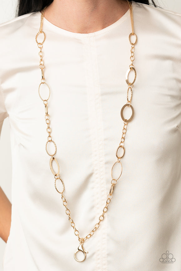 Casually Connected - Gold Lanyard - Paparazzi Accessories