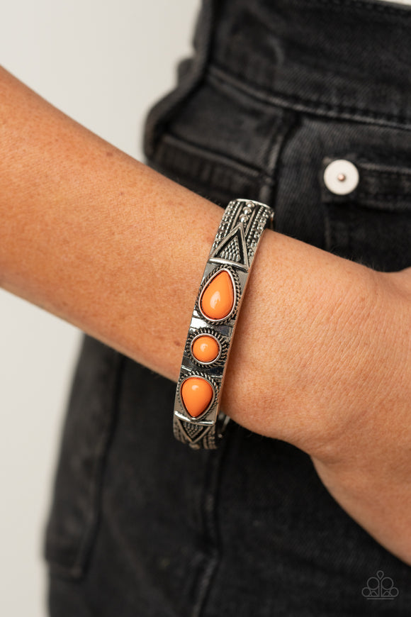 Radiant Ruins - Orange Bracelet - Paparazzi Accessories