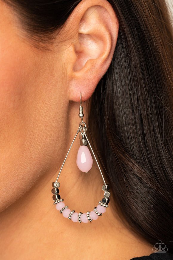 Lovely Lucidity - Pink Earrings - Paparazzi Accessories