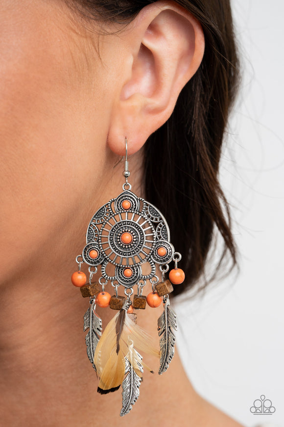 Desert Plains - Orange Earrings - Paparazzi Accessories