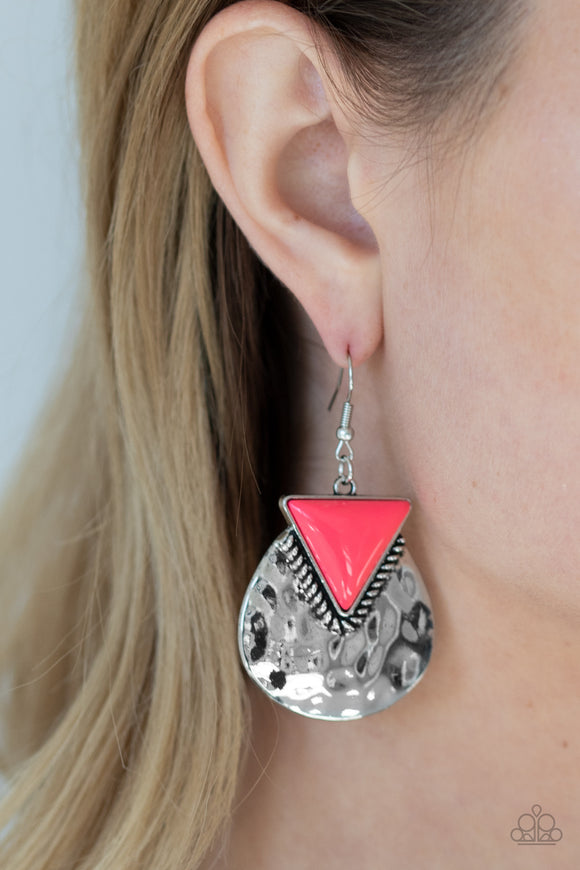 Road Trip Treasure - Pink Earrings - Paparazzi Accessories
