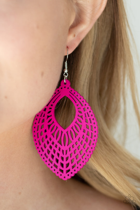 One Beach At A Time - Pink Earrings - Paparazzi Accessories