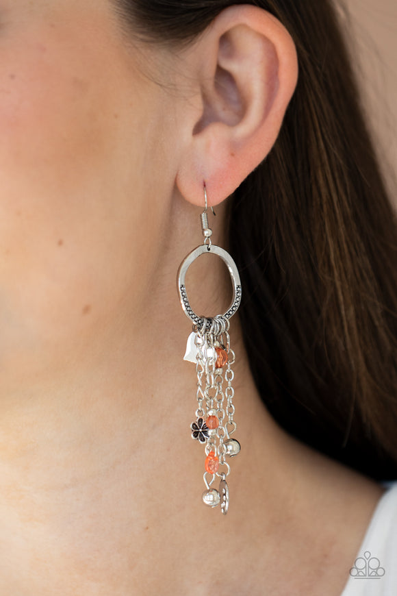 Charm School - Orange Earrings - Paparazzi Accessories