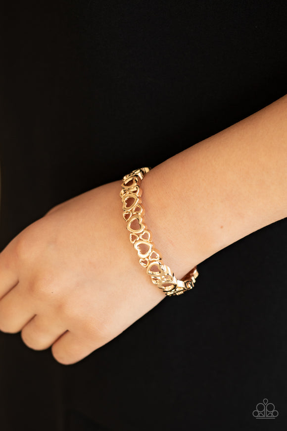 You HEART The Lady! - Gold Bracelet - Paparazzi Accessories