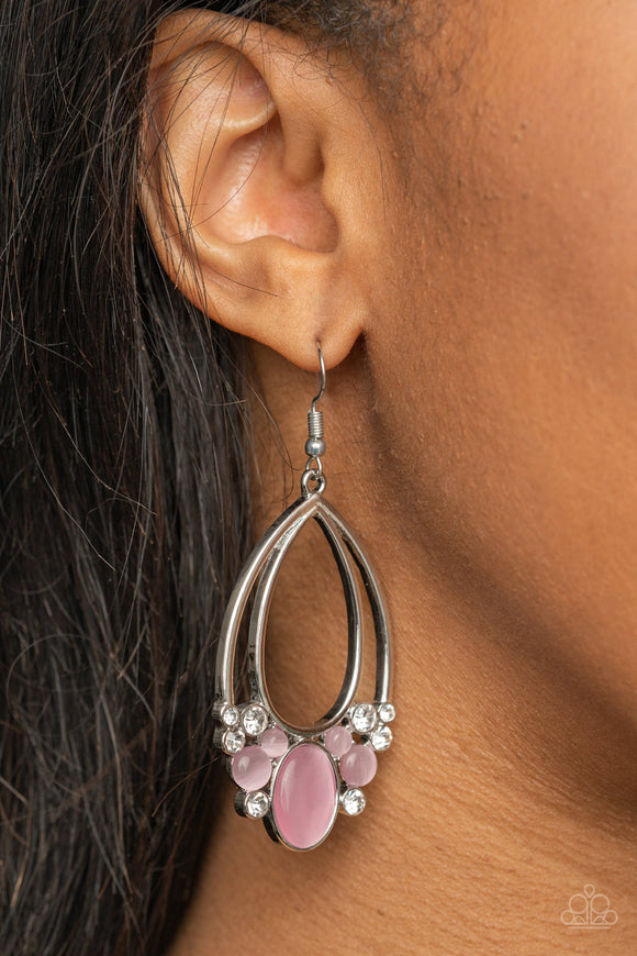 Look Into My Crystal Ball - Pink Earrings - Paparazzi Accessories