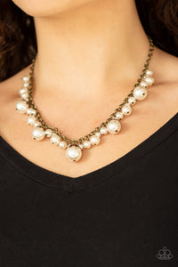 Uptown Pearls - Brass Necklace - Paparazzi Accessories