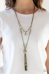 Abstract Elegance - Brass Necklace - Paparazzi Accessories