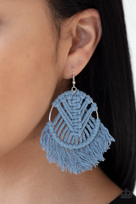 All About MACRAME - Blue Earrings - Paparazzi Accessories