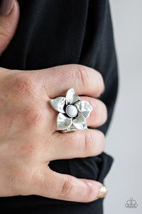 Ask For Flowers - White Ring - Paparazzi Accessories