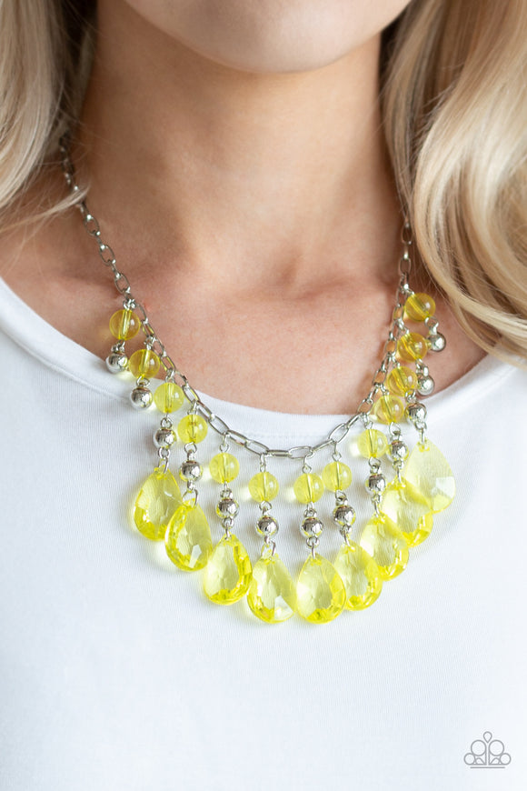 Beauty School Drop Out - Yellow Necklace - Paparazzi Accessories