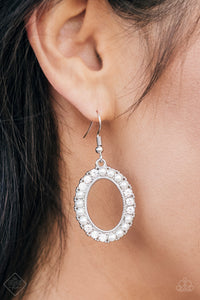 Boss Glam - White Earrings - Paparazzi Accessories
