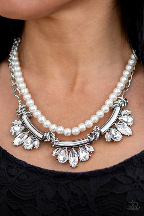 Bow Before The Queen - White Necklace - Paparazzi Accessories