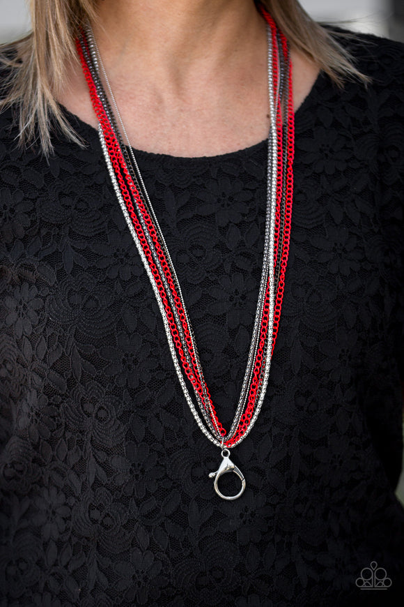Colorful Calamity - Red Lanyard - Paparazzi Accessories