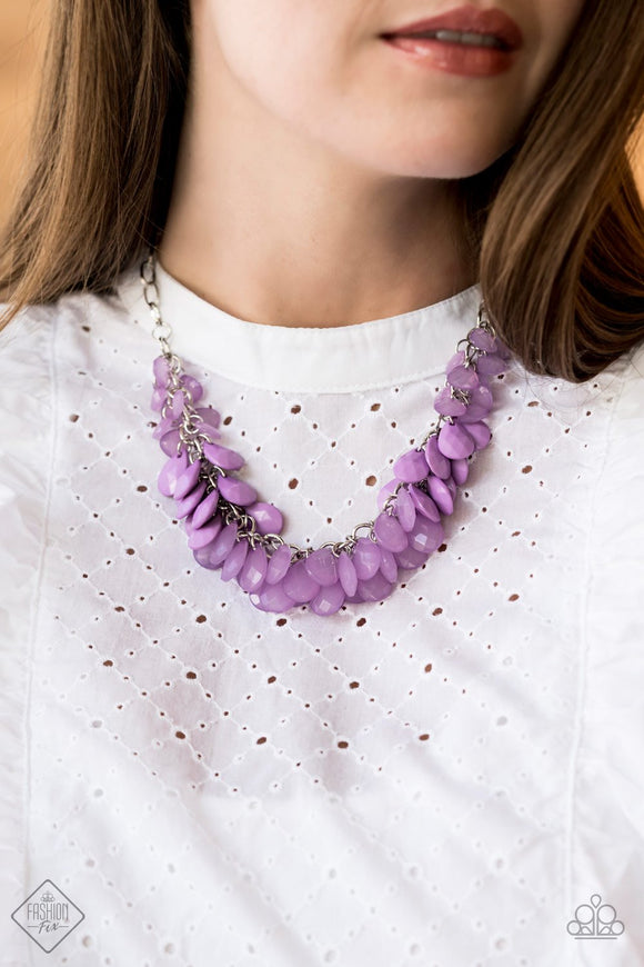 Colorfully Clustered - Purple Necklace - Paparazzi Accessories