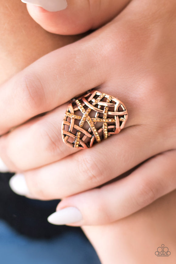 Controlled Chaos - Copper Ring - Paparazzi Accessories