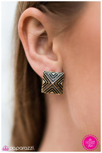 Dance Of The Pyramids - Brass Earrings - Paparazzi Accessories