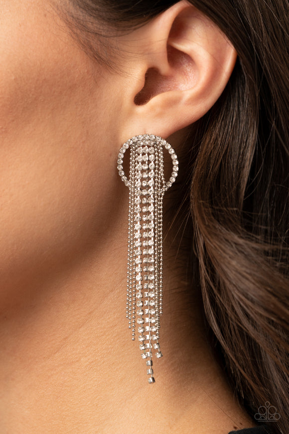 Dazzle By Default - White Earrings - Paparazzi Accessories