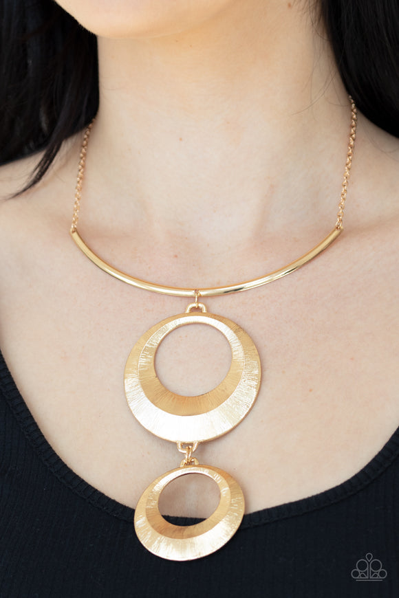 Egyptian Eclipse - Gold Necklace - Paparazzi Accessories