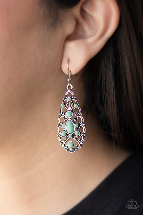 Fantastically Fanciful - Green Earrings - Paparazzi Accessories