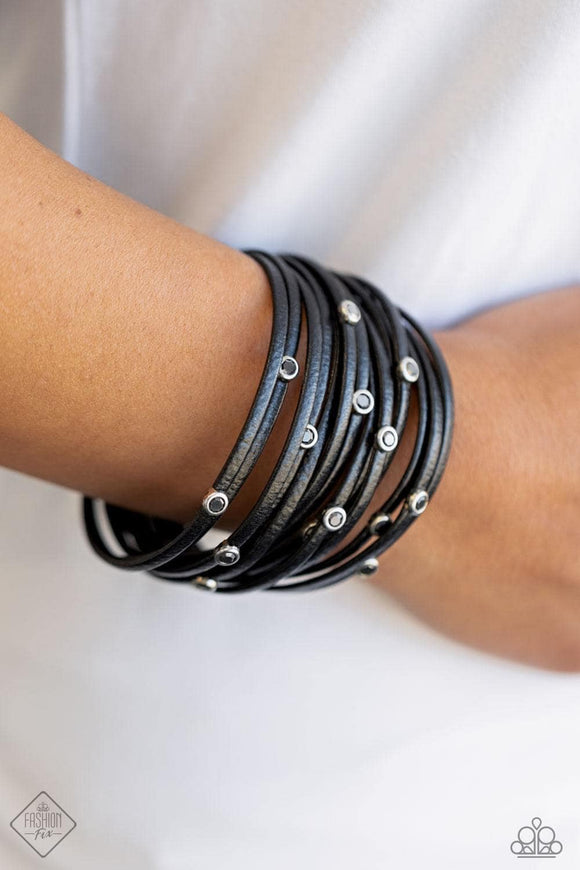 Fearlessly Layered - Black Bracelet - Paparazzi Accessories