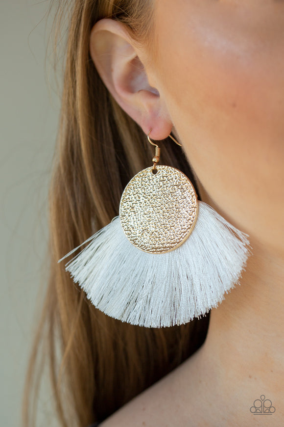 Foxtrot Fringe - Gold Earrings - Paparazzi Accessories
