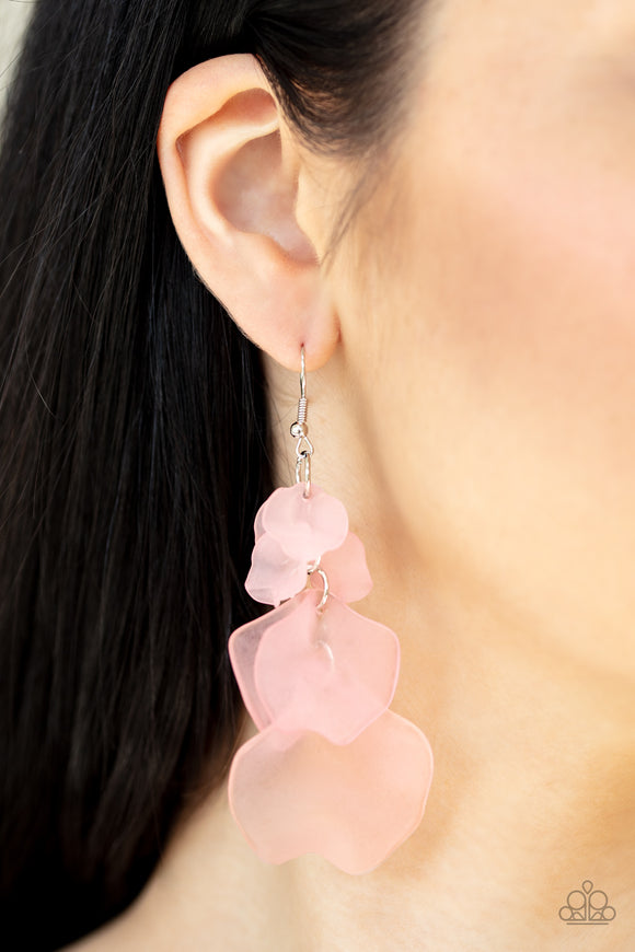 Fragile Florals - Pink Earrings - Paparazzi Accessories