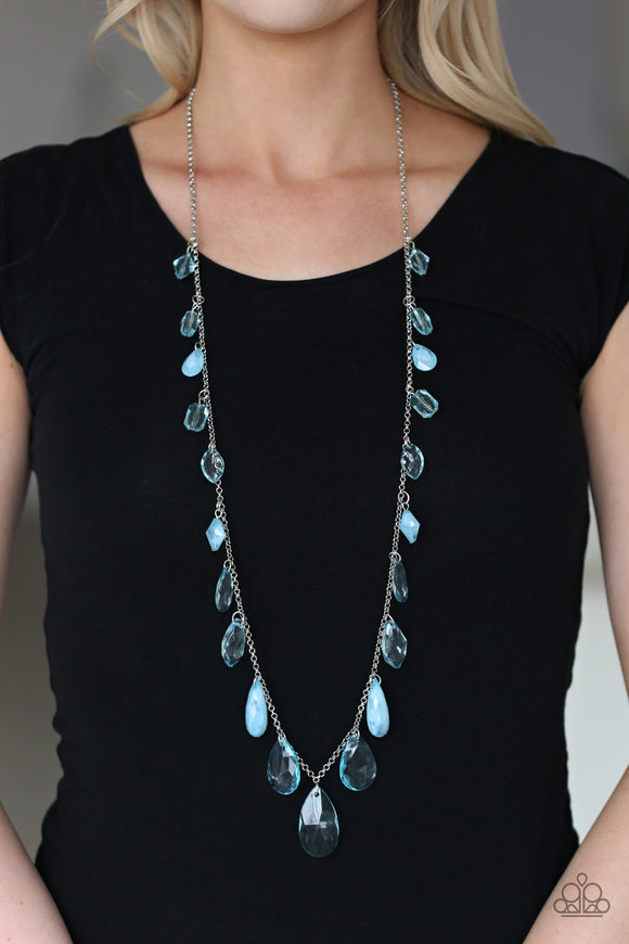 GLOW And Steady Wins The Race - Blue Necklace - Paparazzi Accessories