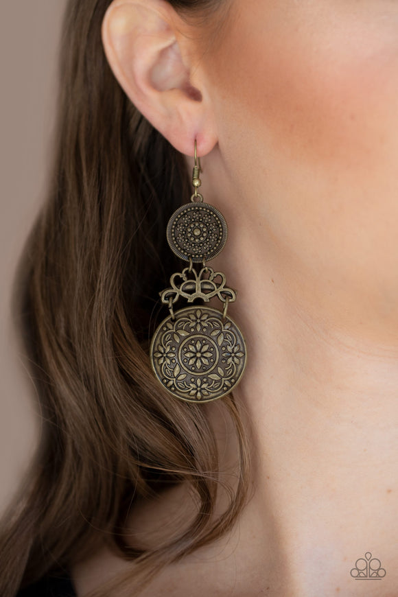 Garden Adventure - Brass Earrings - Paparazzi Accessories