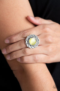 Gardenia Glow - Yellow Ring - Paparazzi Accessories