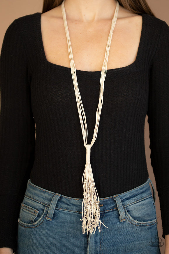 Hand-Knotted Knockout - White Necklace - Paparazzi Accessories