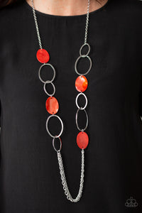Kaleidoscope Coasts - Red Necklace - Paparazzi Accessories