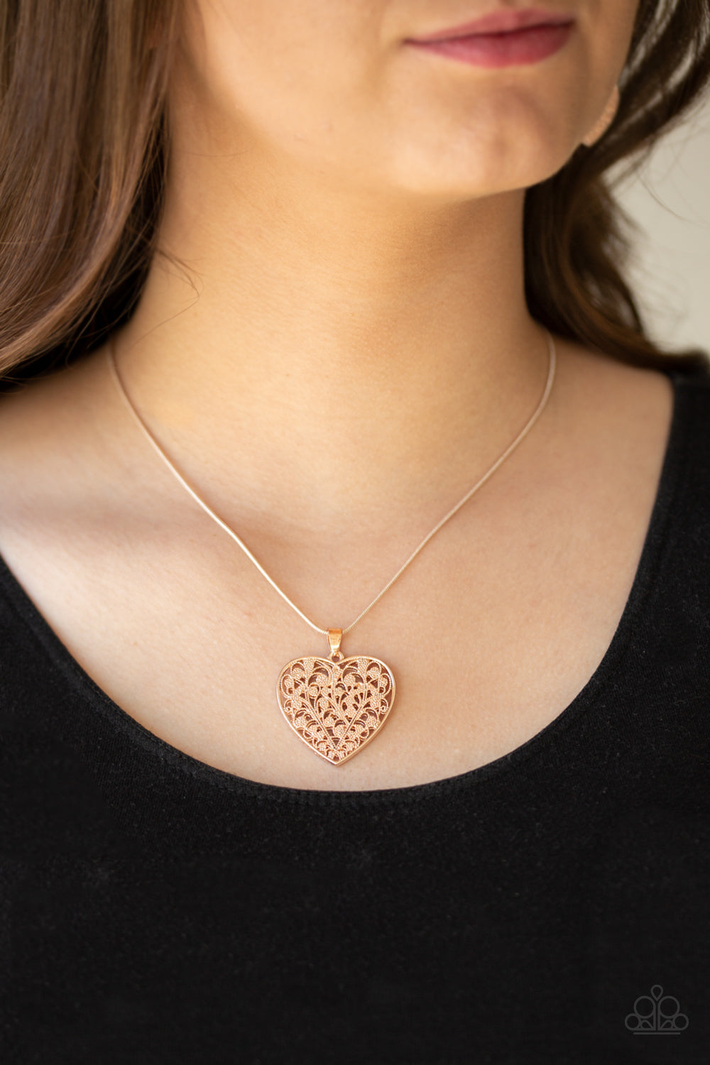 Look Into Your Heart Rose Gold Necklace Paparazzi Accessories Bedazzle Me Pretty Mobile Fashion Boutique