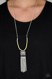 Mayan Masquerade - Yellow Necklace - Paparazzi Accessories