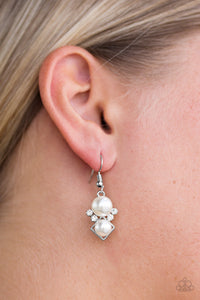 Mrs. Gatsby - White Earrings - Paparazzi Accessories