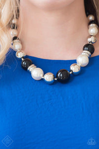 New York Nightlife - White/Black Necklace - Paparazzi Accessories