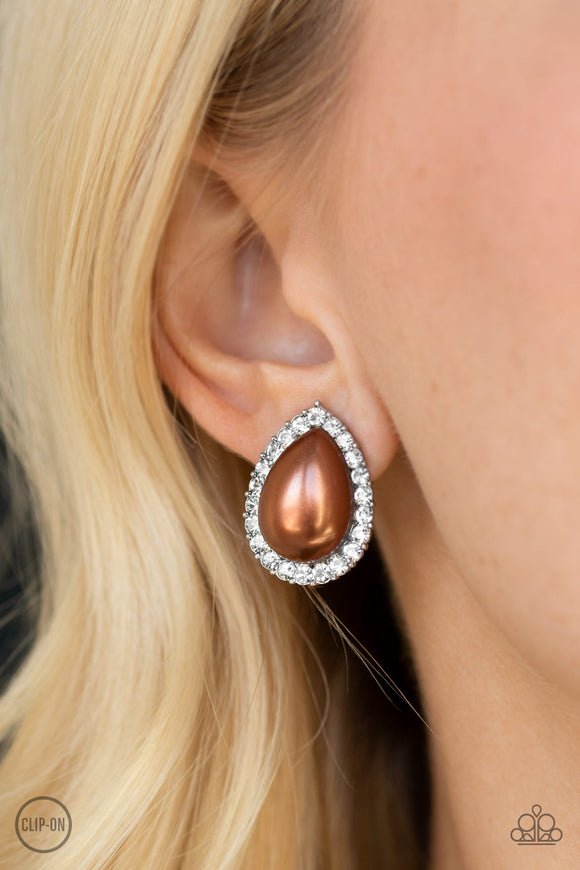 Old Hollywood Opulence - Brown Earrings - Paparazzi Accessories